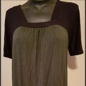 Michael Kors Black Green Blouse Top size small